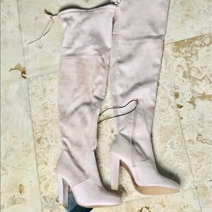 Nude Suede Over The Knee Boots